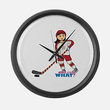 Hockey Player Girl Medium Large Wall Clock