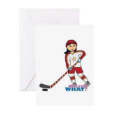 Hockey Player Girl Medium Greeting Card