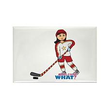 Hockey Player Girl Medium Rectangle Magnet