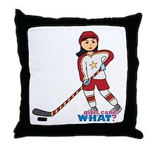 Hockey Player Girl Medium Throw Pillow