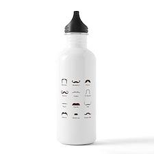 Mustache Style Identification Chart Water Bottle