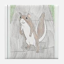 Squirrel on the sidewalk Tile Coaster