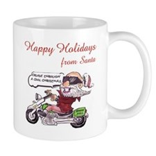 Santa on Motorcycle (caption) Mugs