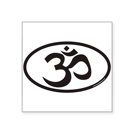 Om Sanskrit Symbol Euro Oval Sticker (Black) Stick