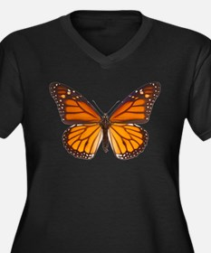 DANAUS PLEXIPPUS V Women's Plus Size V-Neck Dark T