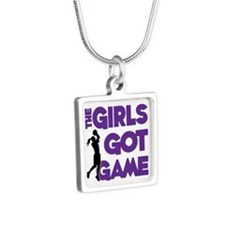 GOT GAME, B-BALL Silver Square Necklace
