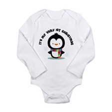 Penguin 1st Christmas Long Sleeve Infant Bodysuit