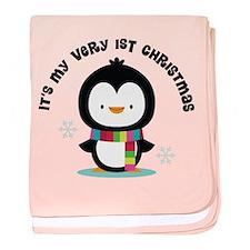 Penguin 1st Christmas baby blanket