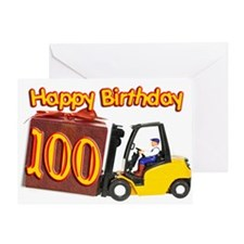 100th birthday card with a fork lift truck Greetin