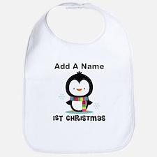 Babys 1st Christmas Personalized penguin Bib