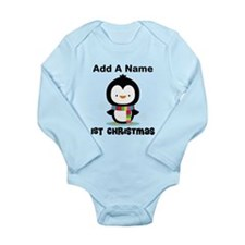 Babys 1st Christmas Personalized penguin Body Suit
