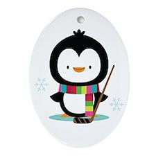 Hockey Christmas Penguin Ornament (Oval)