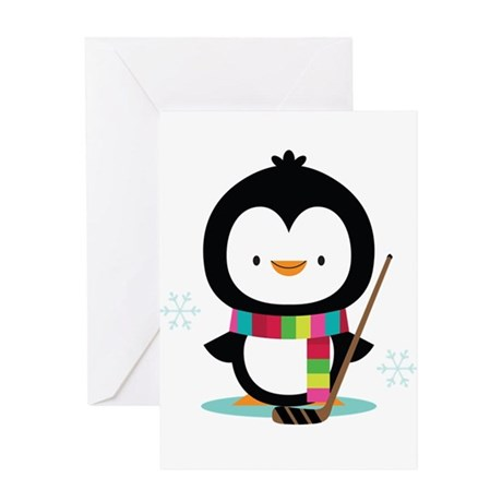 Hockey Christmas Penguin Greeting Card