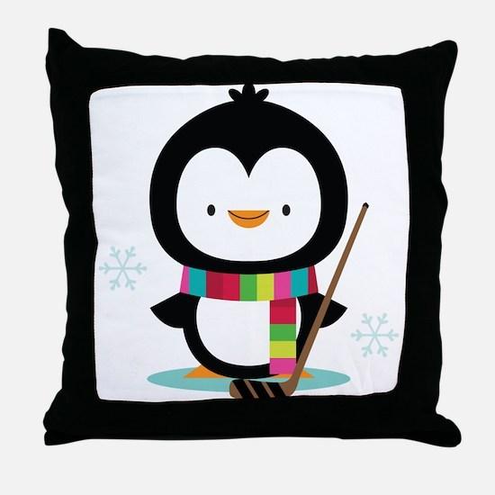 Hockey Christmas Penguin Throw Pillow