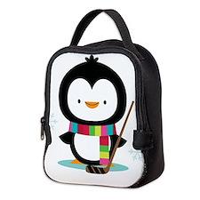 Hockey Christmas Penguin Neoprene Lunch Bag