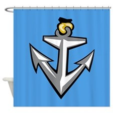 Stylish Blue Anchor Shower Curtain
