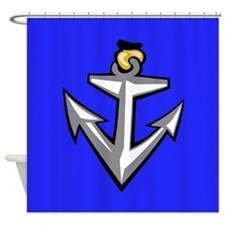 Cool Blue Anchor Shower Curtain
