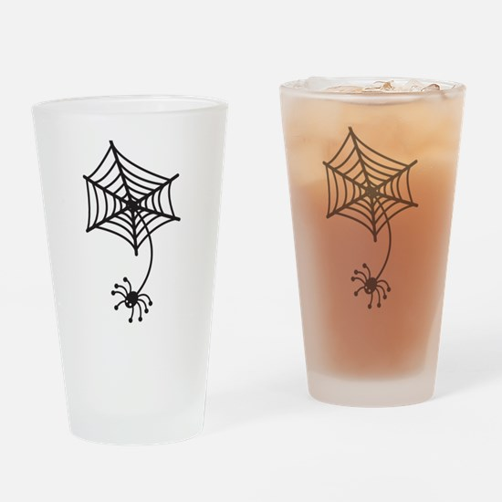 cute Spider in a web Drinking Glass