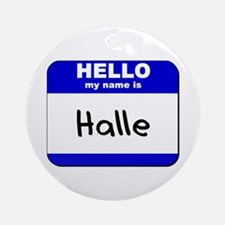 hello my name is halle  Ornament (Round)