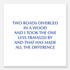 "TWO-ROADS-OPT-BLUE Square Car Magnet 3"" x 3"""
