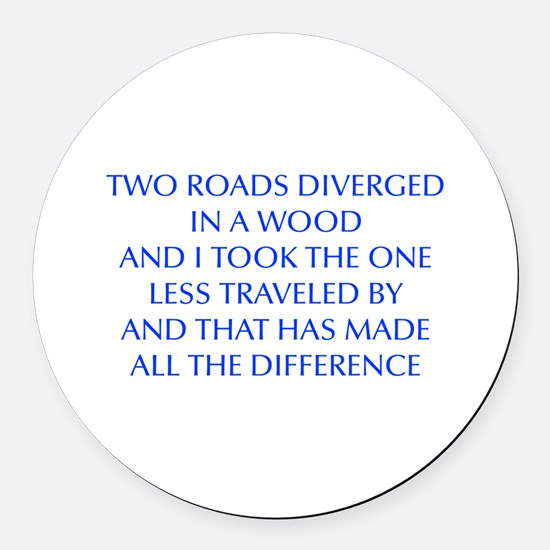 TWO-ROADS-OPT-BLUE Round Car Magnet