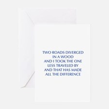 TWO-ROADS-OPT-BLUE Greeting Cards