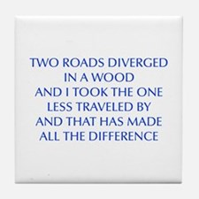 TWO-ROADS-OPT-BLUE Tile Coaster
