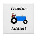 Blue Tractor Addict Tile Coaster