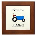 Blue Tractor Addict Framed Tile