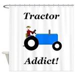 Blue Tractor Addict Shower Curtain