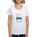 Blue Tractor Addict Women's V-Neck T-Shirt