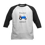 Blue Tractor Addict Kids Baseball Jersey