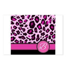 Pink Leopard Letter B monogram Postcards (Package