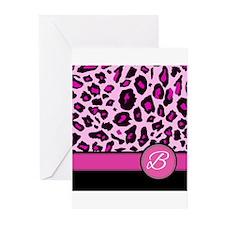Pink Leopard Letter B monogram Greeting Cards