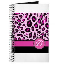 Pink Leopard Letter B monogram Journal