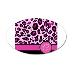 Pink Leopard Letter C monogram Wall Decal