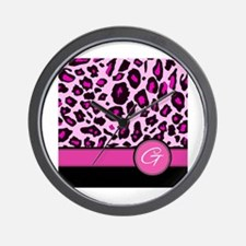 Pink Leopard Letter G monogram Wall Clock
