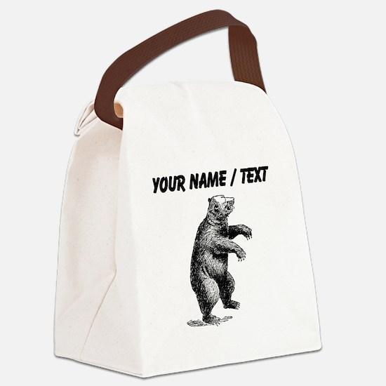 Custom Grizzly Bear Sketch Canvas Lunch Bag
