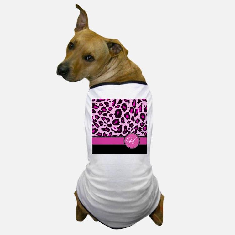 Pink Leopard Letter H monogram Dog T-Shirt