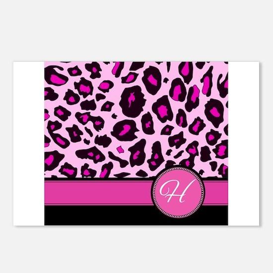 Pink Leopard Letter H monogram Postcards (Package