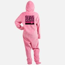 Pink Leopard Letter H monogram Footed Pajamas