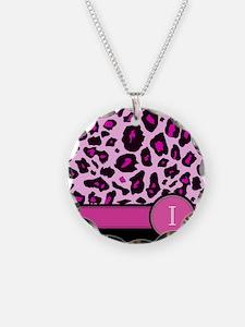 Pink Leopard Letter I monogram Necklace