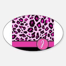 Pink Leopard Letter J monogram Decal