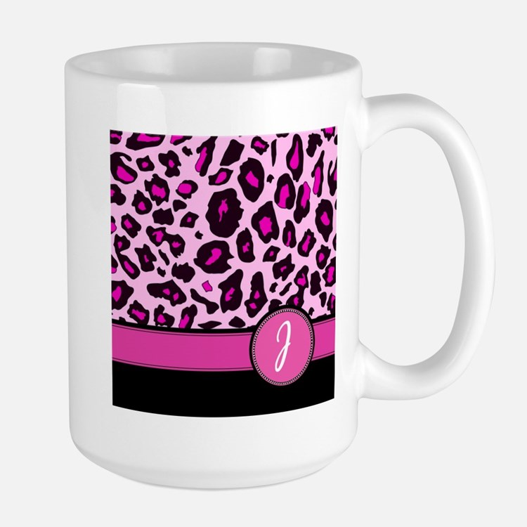 Pink Leopard Letter J monogram Mugs