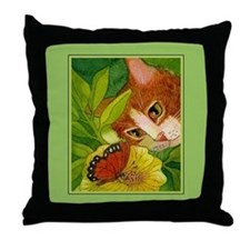 Ginger Cat & Butterfly Throw Pillow