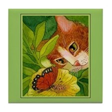 Ginger Cat & Butterfly Tile Coaster