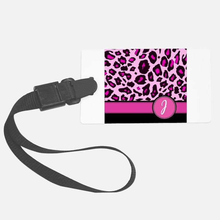 Pink Leopard Letter J monogram Luggage Tag