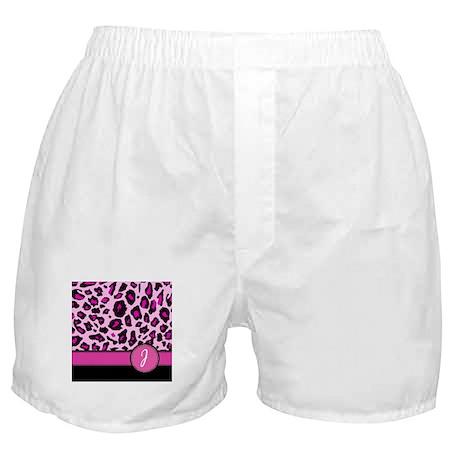 Pink Leopard Letter J monogram Boxer Shorts