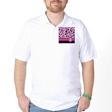 Pink Leopard Letter J monogram T-Shirt