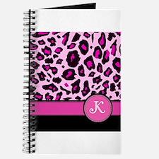 Pink Leopard Letter K monogram Journal